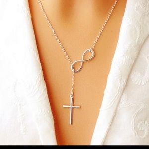 Cross Infinity Necklace Silver NWOT